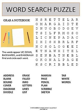 Grab a Notebook Word Search