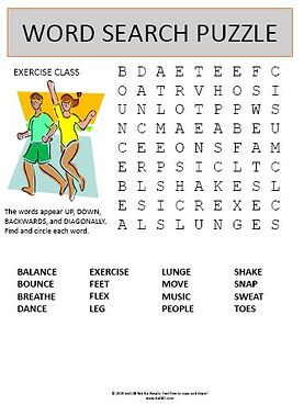 Exercise Class Word Search