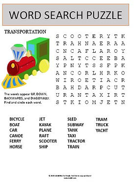 Transportation Word Search