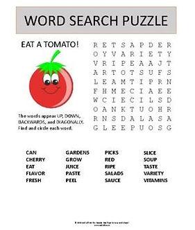 Tomato Word Search Puzzle