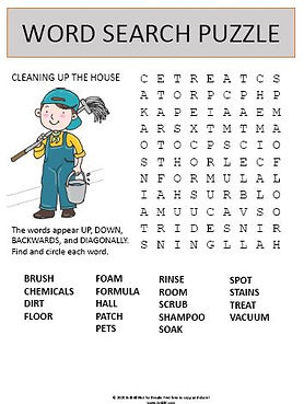 House Cleaning Word Search