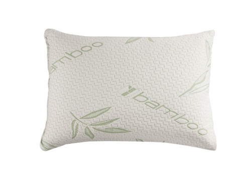memory foam travel sized pillow with bamboo cover