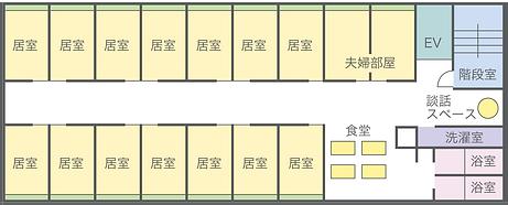 岡山県総社市の住宅型老人ホームケアヴィレッジ総社 2階平面図