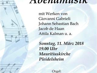 Konzert mit GardaBrass am Sonntag, 11.3. um 19 Uhr, Mauritiuskirche Pleidelsheim