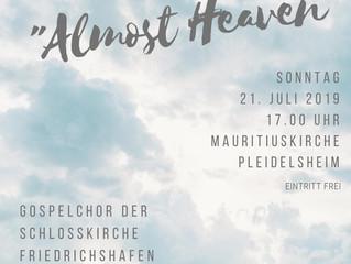 """Gospelkonzert mit """"Almost Heaven"""" am Sonntag, 21. Juli um 17 Uhr in der Mauritiuskirche Pl"""
