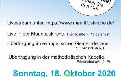 Ökumenischer Gottesdienst am 18.10.2020 um 10 Uhr in der Mauritiuskirche - nur im Livestream!