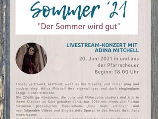 Konzert mit Adina Mitchell und Band am Sonntag, 20. Juni 2021 um 18 Uhr