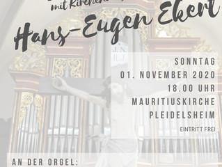Das Orgelkonzert mit dem Kirchenmusikdirektor Hans-Eugen Ekert muss leider ausfallen! Schade