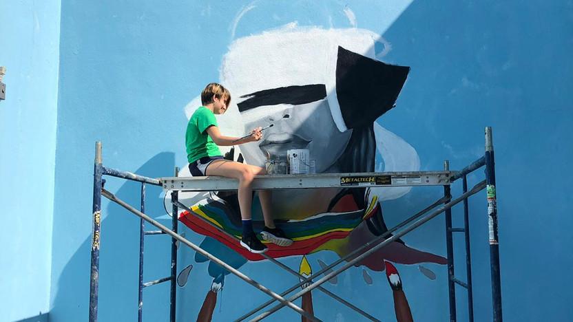 STA mural in progress