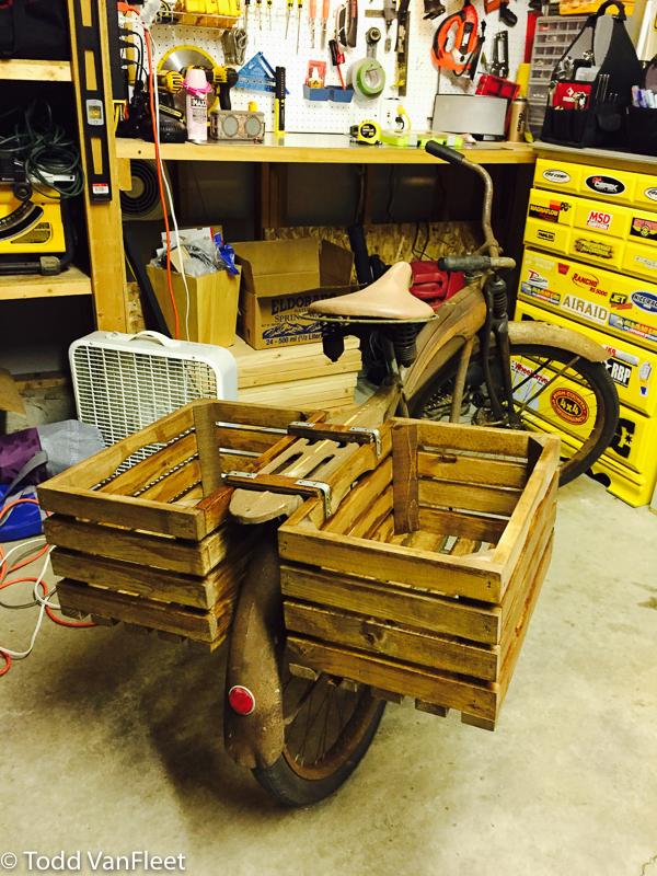 Custom wood crate saddle bags