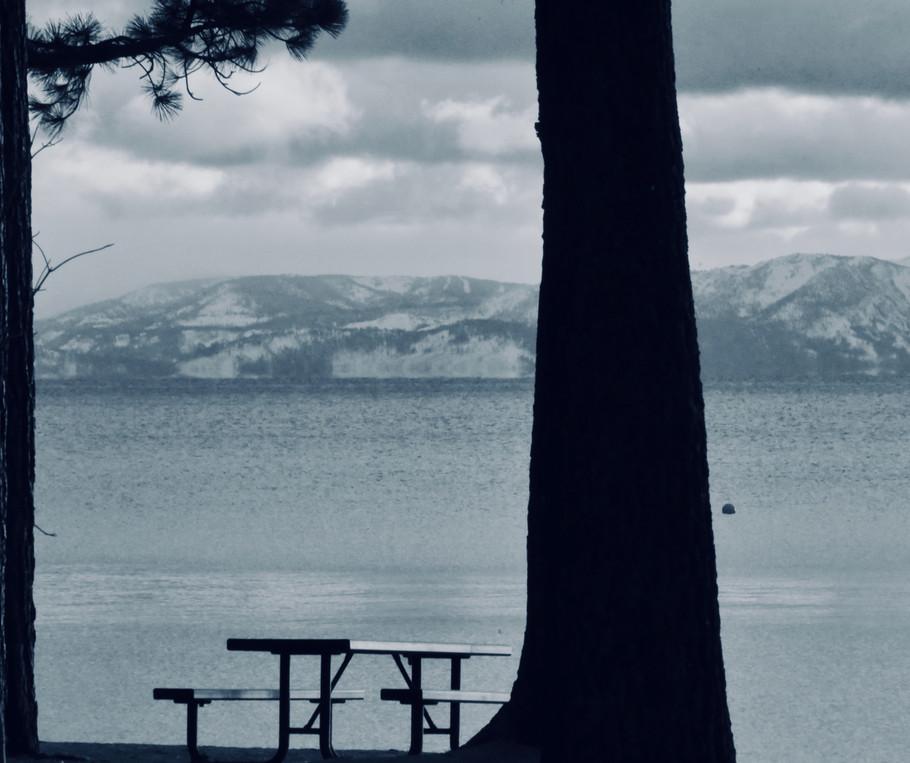 Picnic Table at Lake LT BW.jpg