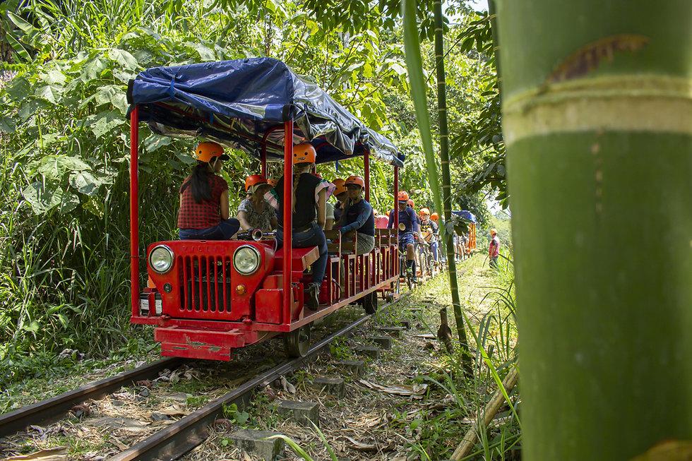 El Famoso Bicieriel, disfruta en un carrito Jeep Whilly's o un carrito de bicicletas por un ferrocarril restuarado, rodeado de la naturaleza Colombiana.