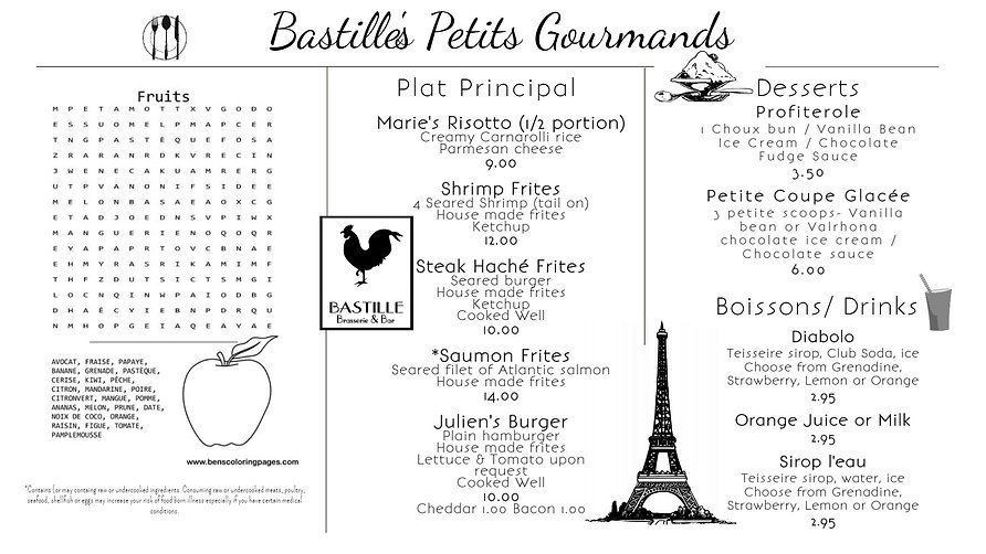 Bastille Petit Gourmand Menu