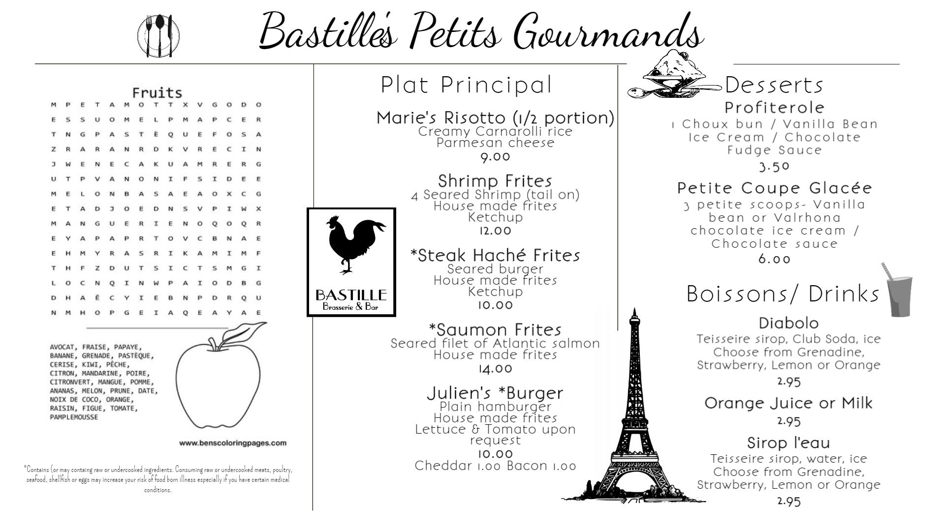 Bastille Petit Gourmand Menu 082019 - Ma