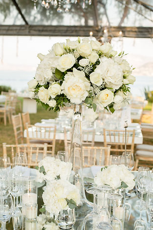 A centrepiece filled with white flowers