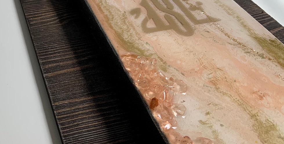 Resin art (canvas on wood plank)