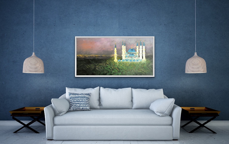 Blue mosque 24x48 oil on canvas