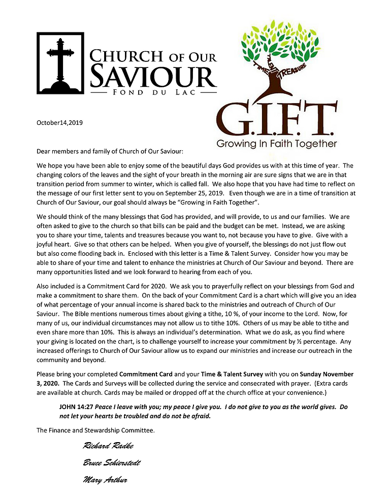 2019 Stewardship Letter for October 14-1