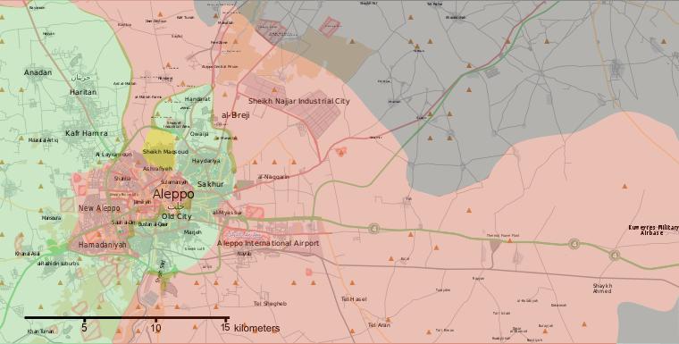 La battaglia di Aleppo, le forze in campo il 6 agosto 2016, Wikipedia commons