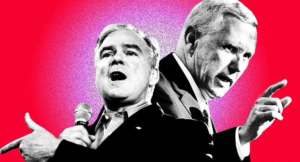 I due VP designati (a sinistra Tim Kaine, a destra Mike Pence visti da Polico.com