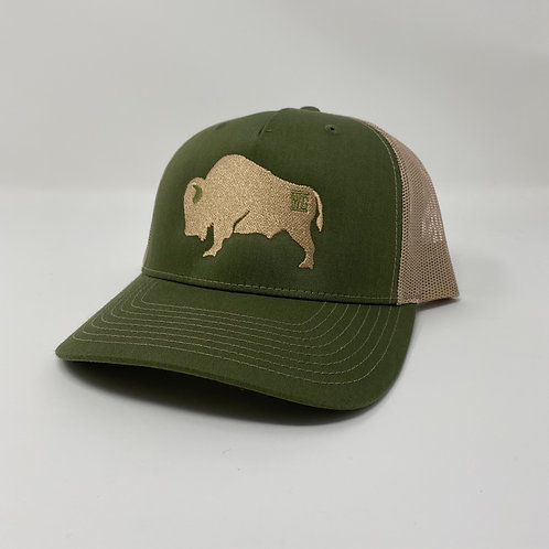 Tan Branded Buffalo Embroidered Bent Rim (Tan/Olive)