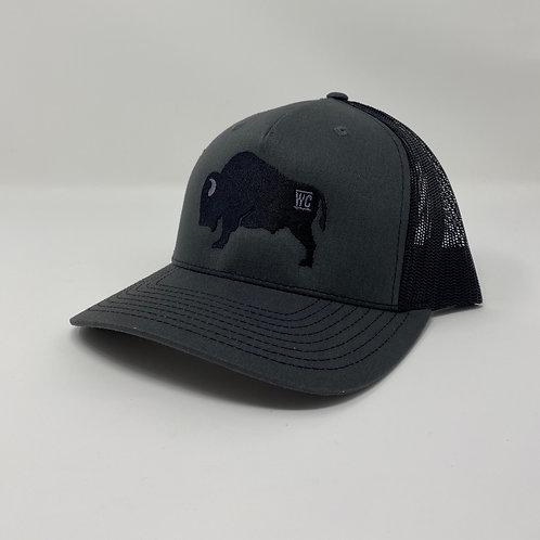 Black Branded Buffalo Embroidered Bent Rim (Black/Charcoal)