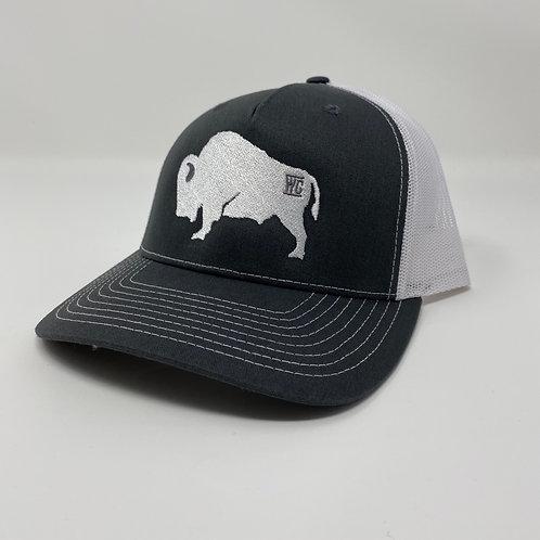 White Branded Buffalo Embroidered Bent Rim (White/Black)