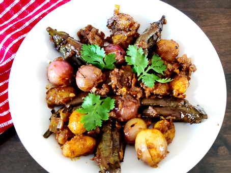 Baby Eggplants with Baby Potatoes and Baby Onions-Sabzi.