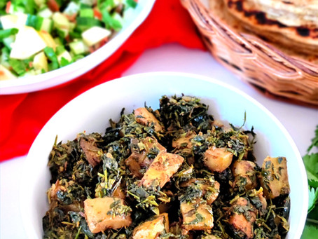 Methi Aloo ki Sabzi( Fresh Fenugreek Leaves and Potatoes side dish)