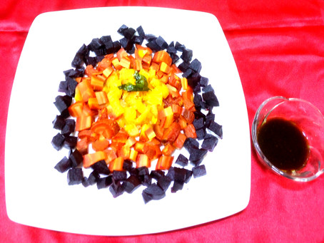 Ombre Salad : Roasted Beetroot, Carrot and Pineapple Warm salad