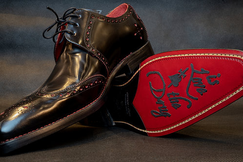 Jeffrey West Ice Truck Dexter Shoes in Black with Red Stich
