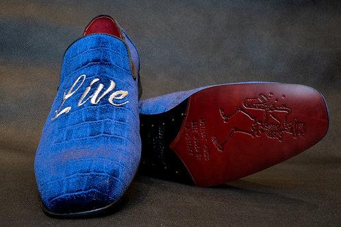 Jeffrey West Velvet Slipper Blue
