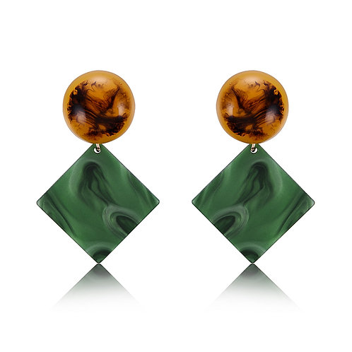 Green Marble Stud Earrings