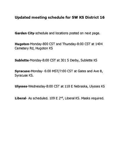Updated meeting schedule for SW Kansas D