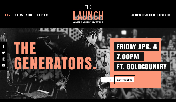 Music website templates – Music Venue