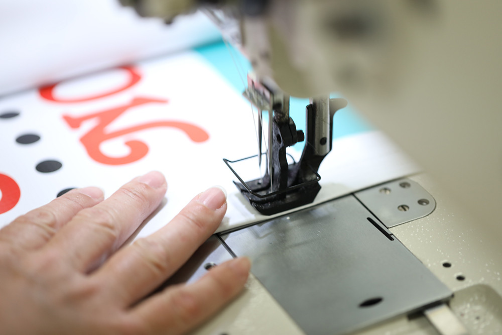 Industrial sewing of vinyl and fabric