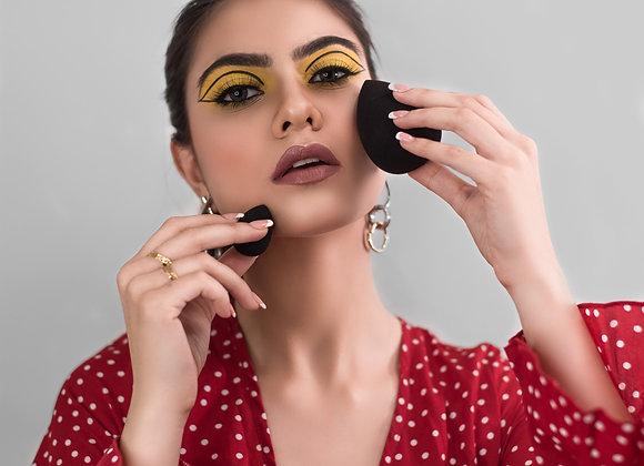 2Pcs Black Makeup Sponge Set