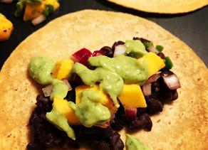 Black Bean Tacos with SpicyMango Salsa and Avocado Dressing