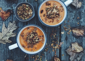 Roasted Butternut Squash and Carrot Soup with Savory Granola