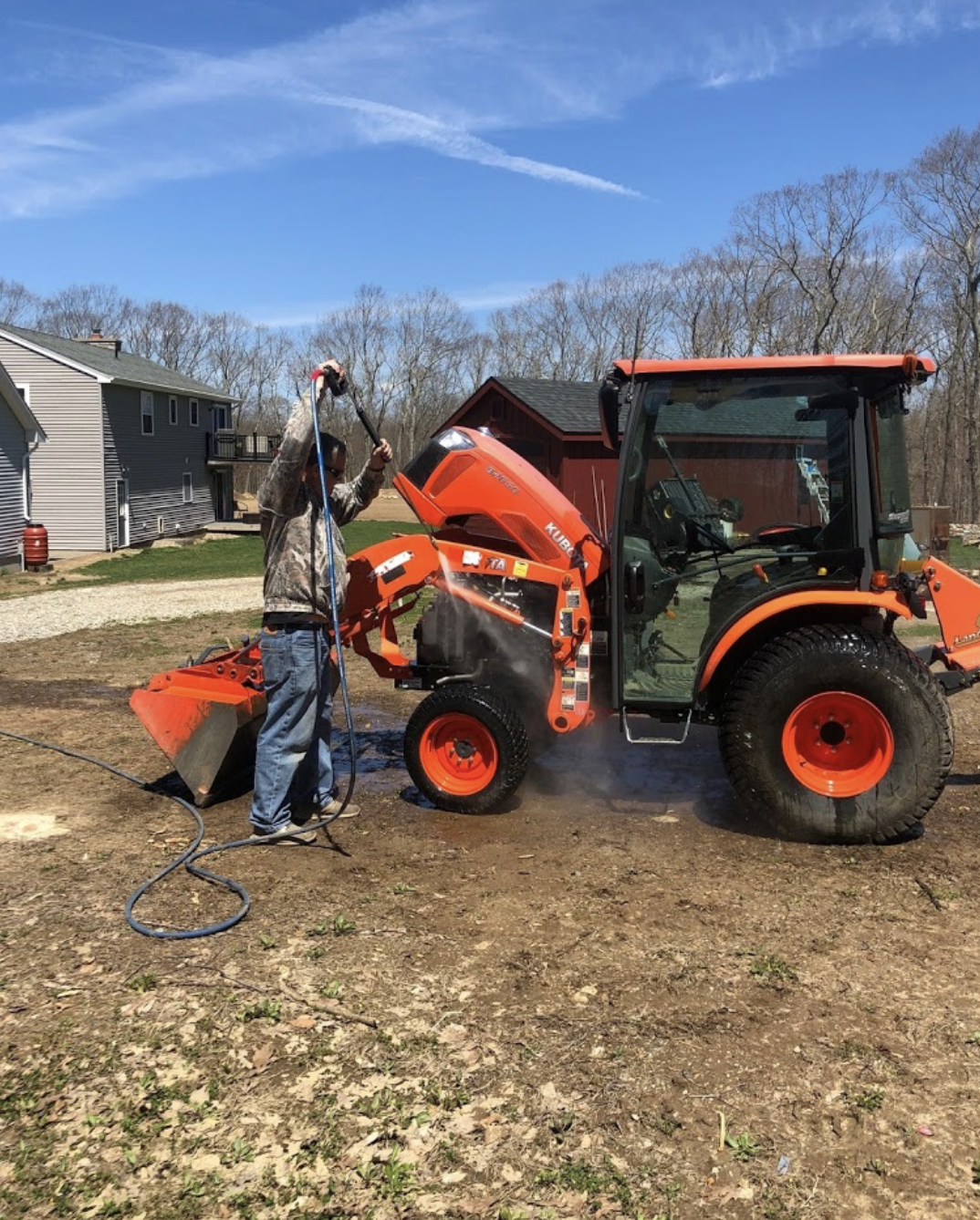 Power Washing a Tractor
