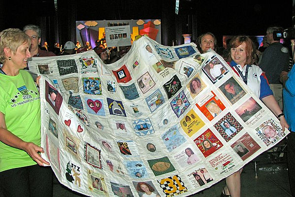 Pam and quilt at Games 2008.jpg