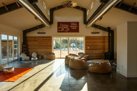 Completed in 2016, the Main Barn House offers multiple spaces for groups to gather and unwind.