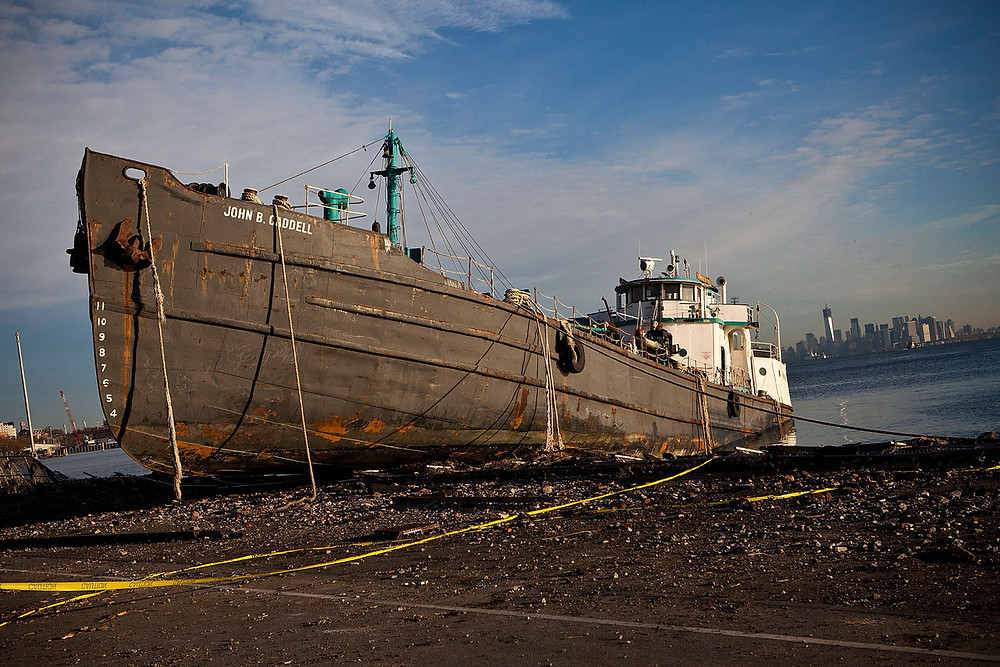 Hurricane Sandy washed tanker ashore