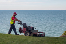 Mowing on the shores of Lake Erie