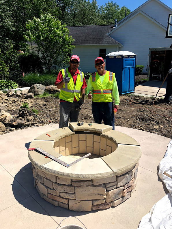Stone Outdoor Fire Pit Installation