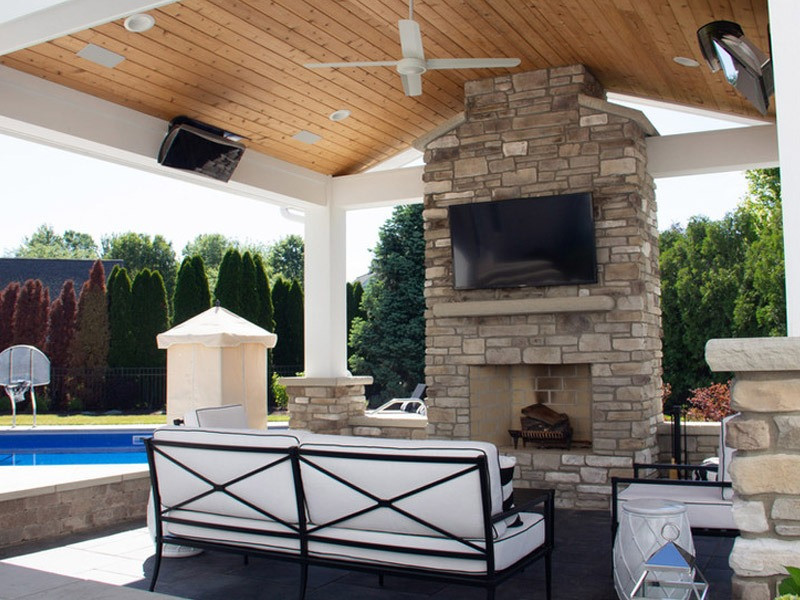 Poolside Outdoor Fireplace Installation Rocky River Ohio