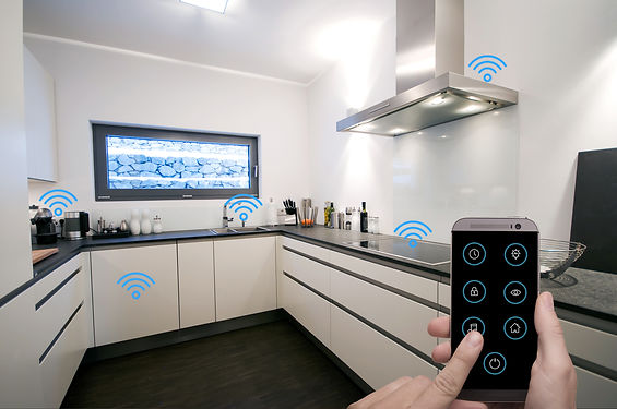 Smart Home Kitchen controlled by man hol