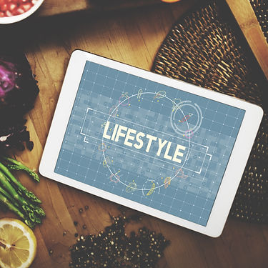 Lifestyle word on digital tablet  in the
