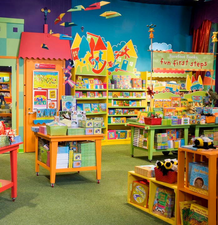 Colorful Backdrops for Barefoot Books, FAO Shwarz, NYC; Designed by Edie Twinging
