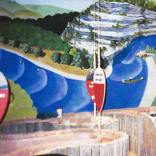 Missouri River Scene Murals inspired by Grant Wood